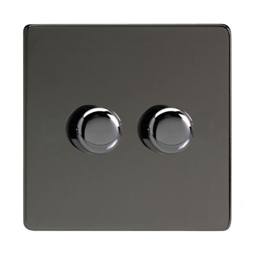 Varilight JDIP252S Screwless Iridium Black 2 Gang 2-Way Push-On/Off LED Dimmer 0-120W V-Pro